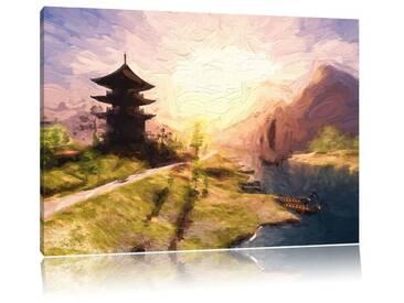 Leinwandbild Beeindruckender asiatischer Tempel am Fluss, Grafikdruck