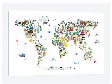 Leinwandbild Animal Map of the World von Michael Tompsett
