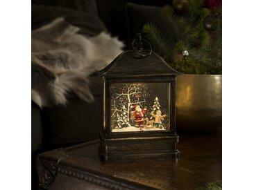 Schnee-Laterne mit Weihnachtsmann und Kind