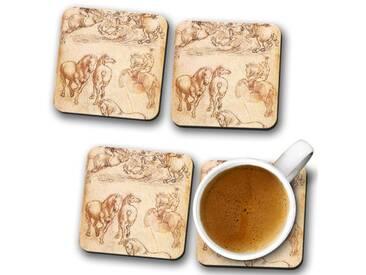 Glasuntersetzer-Set Leonardo da Vinci Horse Sketch