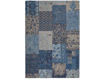 Handgefertigter Teppich aus Baumwolle in Blau/Beige