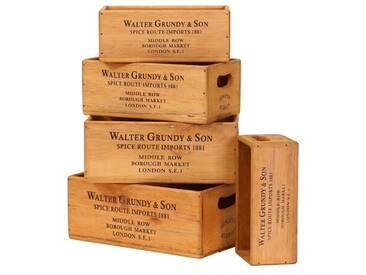 5-tlg. Kisten-Set Chalmers Walter Grundy and Son Shellfish aus Massivholz