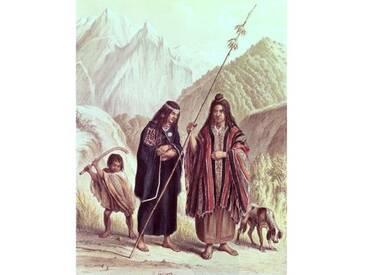 "Gerahmtes Poster ""Araucanian Indians, Illustration from Historia De Chile by Claudio Gay"" von F. Lehnert, Kunstdruck"
