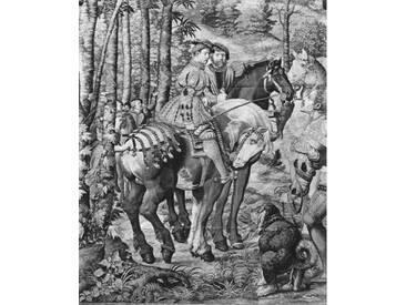 Leinwandbild The Hunts of Maximilian, Leo, The Stag Hunt, The Report, Gobelins Factory, Kunstdruck von Bernard van Orley