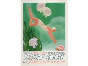 Leinwandbild Summer Resort Travel, Retro-Werbung