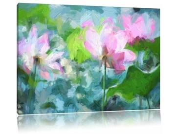 Leinwandbild Asiatische rosa Lotusblüte im Teich, Grafikdruck