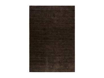 Handgefertigter Teppich Maya aus Baumwolle in Dunkelbraun