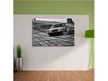 Leinwandbild Elegante schwarze Dodge Challenger in Monochrom