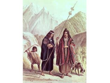 "Leinwandbild ""Araucanian Indians, Illustration from Historia De Chile by Claudio Gay"" von F. Lehnert, Kunstdruck"