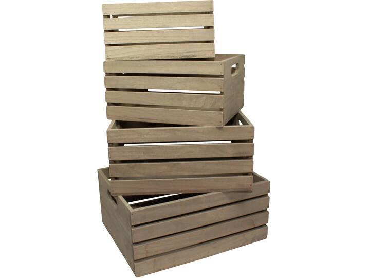 4-tlg. Kisten-Set aus Holz Beige