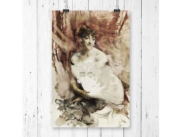 "Poster ""Woman with a Fan"" von Giovanni Boldini, Kunstdruck"