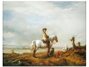 "Gerahmter Kunstdruck ""Man on a Horse with a Woman and Child von Philips Wouwerman"