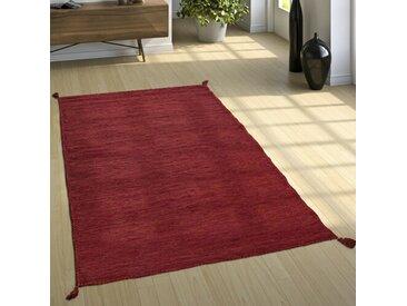 Handgefertigter Kelim-Teppich Colyt aus Baumwolle in Rot
