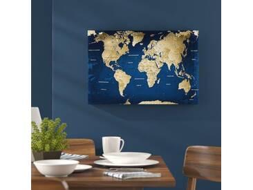 Leinwandbild World Map with Cork Back, Grafikdruck