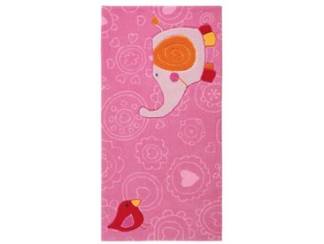 Handgefertigter Kinderteppich Happy Zoo Elephant in Pink/Rosa
