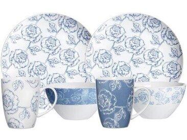 6-tlg. Frühstücksgeschirr Blue Flower für 2 Personen