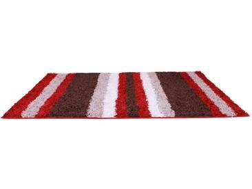 Teppich Retro Shaggy Lines in Braun und Rot
