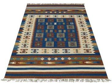 Handgefertigter Teppich aus Wolle in Blau