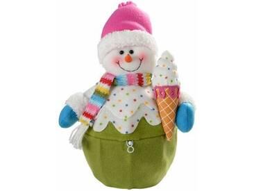 Dekorationsfigur Cupcake-Korb mit Schneemann