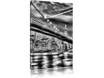 Leinwandbild New York Brooklyn Bridge in Monochrom