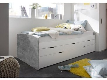 Funktionsbett Lawtey mit Schubladen und Ausziehbett, 90 x 200 cm