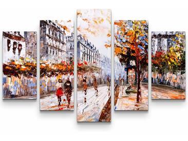 5-tlg.Leinwandbilder-SetStraße in Paris