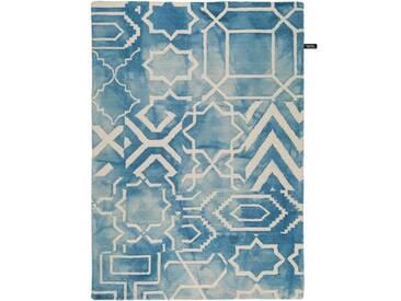 Handgefertigter Teppich Dip Dye aus Wolle in Blau