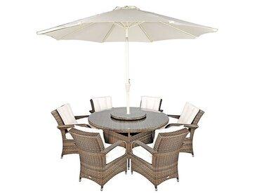 6-Sitzer Gartengarnitur Harpenden mit Sonnenschirm