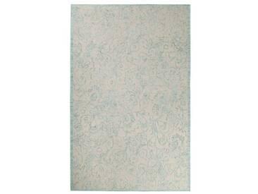 Handgefertigter Teppich Kayla aus Wolle in Hellblau