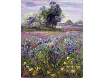 Gerahmtes Wandbild Irises and Distant May Tree, 1993 von Timothy Easton