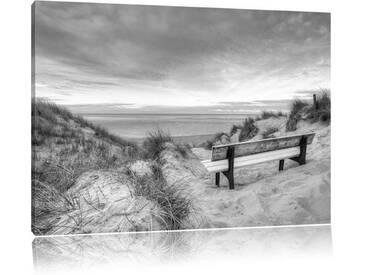 """Leinwandbild """"Bank in den Dünen mit Blick auf das Meer"""", Fotodruck"""