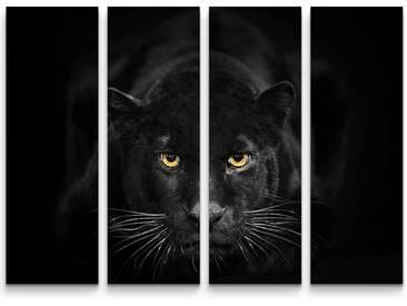 4-tlg.Leinwandbilder-SetSchwarzer Panther