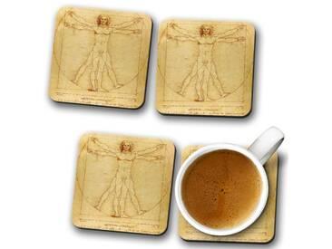 Glasuntersetzer-Set Leonardo da Vinci the Vitruvian Man Vitruviano