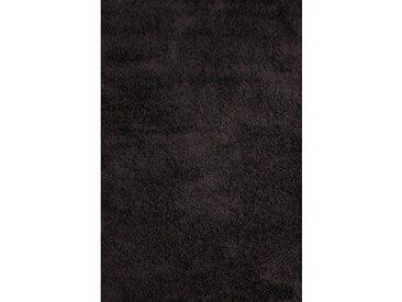 Teppich Retro Shaggy Plain in Schwarz