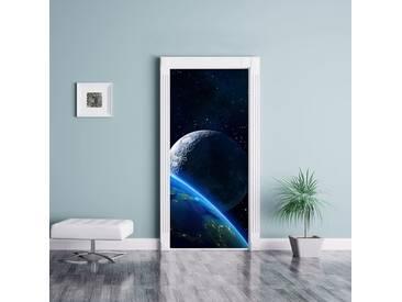 Türaufkleber Die Erde und ihr Mond aus dem All