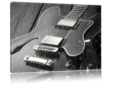 Leinwandbild E-Gitarre in Schwarz/Weiß
