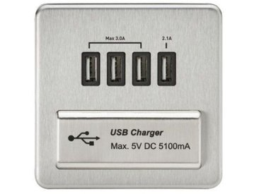 Wandmontierte Steckdose 1G Quad USB