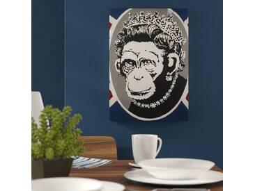 Leinwandbild Monkey Queen Grafikdruck von Banksy