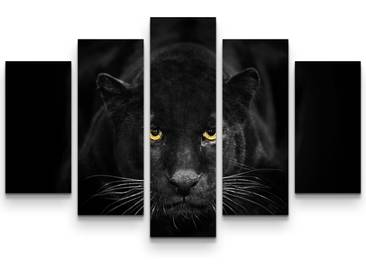 5-tlg.Leinwandbilder-SetSchwarzer Panther