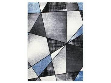 Flachgewebe-Teppich Halleck in Blau/Grau