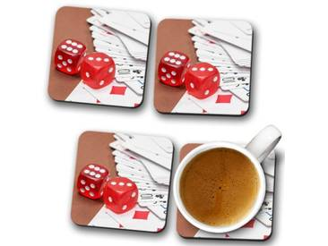 Glasuntersetzer-Set Red Dice and Deck of Cards
