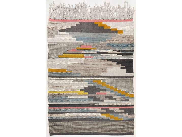 Handgefertigter Teppich Nomadic in Grau/Orange