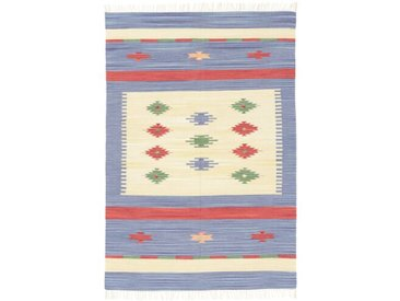 Handgefertigter Kelim-Teppich aus Wolle in Blau