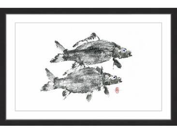 Gerahmtes Papierbild Twin Carps von Andrew Clay