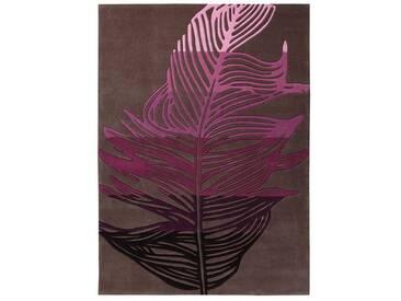 Handgefertigter Teppich Feather in Bunt/ Braun