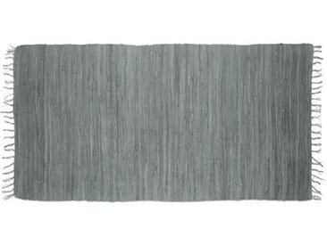 Handgefertigter Teppich aus Baumwolle in Blau