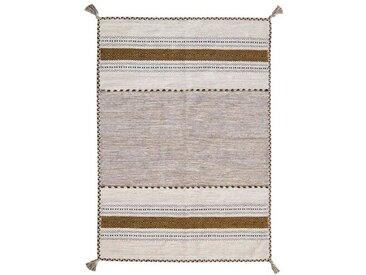 Blomquist Handgefertigter Kelim-Teppich aus Baumwolle in Grau