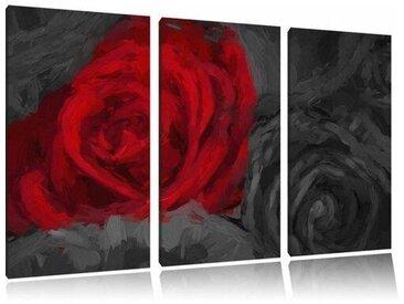 "3-tlg. Leinwandbilder-Set ""Romantische Rote Rosen"", Kunstdruck"