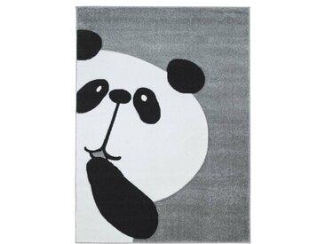 Kinderteppich Panda Bär in Grau/Weiß