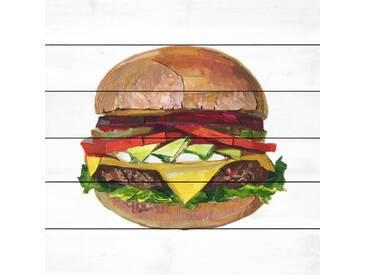 Holzbild Der ultimative Burger